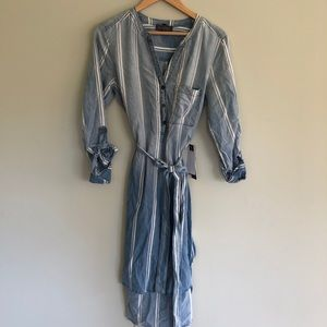 Luxology Chambray Denim Shirt Dress Striped NWT
